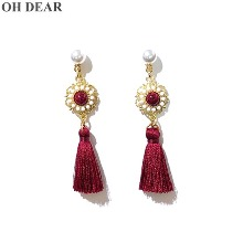 OH DEAR Burgundy Gemstone Tassel Drop Handmade Earrings 1pair,Beauty Box Korea