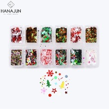 HANAJUN Christmas Nail Glitter Set 12items