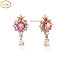 CLUE Frozen 2 Anna Aurora Stone Silver Earrings (CLER19B73PPP) 1pair [CLUE X Disney]