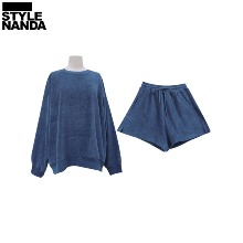 STYLENANDA Loose Sweatshirt And Flared Shorts Set 1ea,Beauty Box Korea