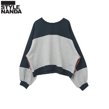 STYLENANDA Color Block Drop Shoulder Sweatshirt 1ea,Beauty Box Korea