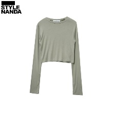 STYLENANDA Basic Round Neck Cropped T-Shirt 1ea,Beauty Box Korea