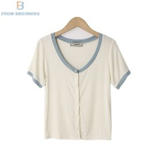 FROM BEGINNING Colourway Button Ribbed T-Shirt 1ea,Beauty Box Korea