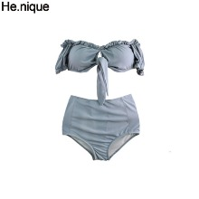 HE.NIQUE Frill Shirring Ribbon Off Shoulder Short Sleeve Two Piece Bikini 1ea,Beauty Box Korea