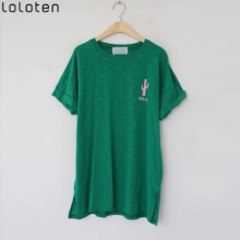 LOLOTEN Cactus Roll Up Sleeve T-Shirt 1ea,Beauty Box Korea
