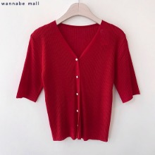 WANNABEMALL Sandy Pearl Button Ribbed Short-Sleeved Cardigan 1ea,Beauty Box Korea