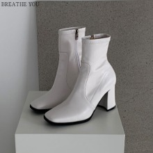 BREATHE YOU Square Western Ankle Sock Boots Middle Heel 1pair,Beauty Box Korea