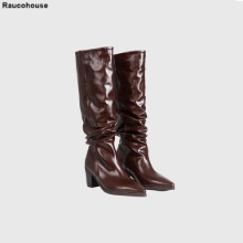 RAUCOHOUSE Glossy Shirring Western Boots 1pair,Beauty Box Korea