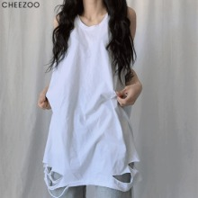 CHEEZOO Unisex ; Damage Layered Sleeveless Shirt 1ea,Beauty Box Korea