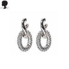 BLACK MUSE Metal N Crystal Link Earrings 1pair,Beauty Box Korea