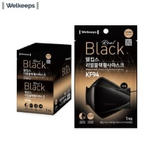 WELKEEPS Real Black Mask Protects Ultra Fine Dust & Infection KF94 Large 25ea,Beauty Box Korea