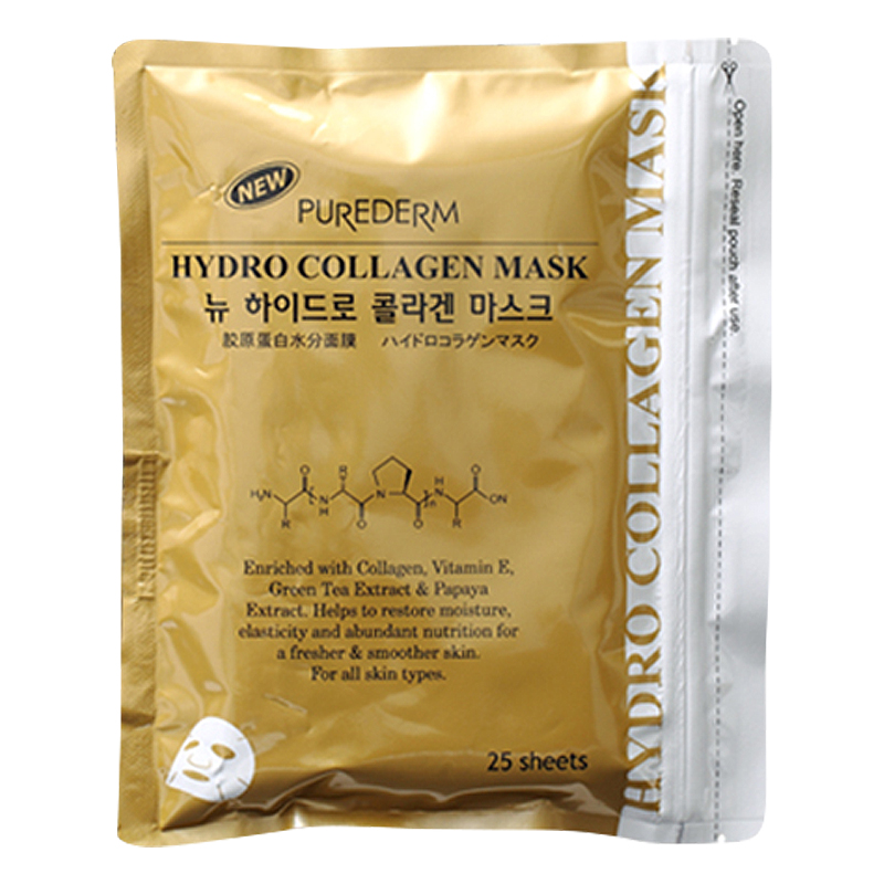 [PUREDERM] New Hydro Collagen Mask [Gold] 25 sheets (Weight : 456g)