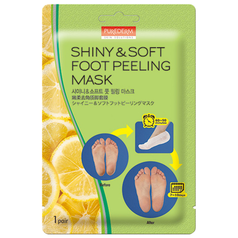 [PUREDERM] Shiny & Soft Foot Peeling Mask 1 pair (Weight : 53g)