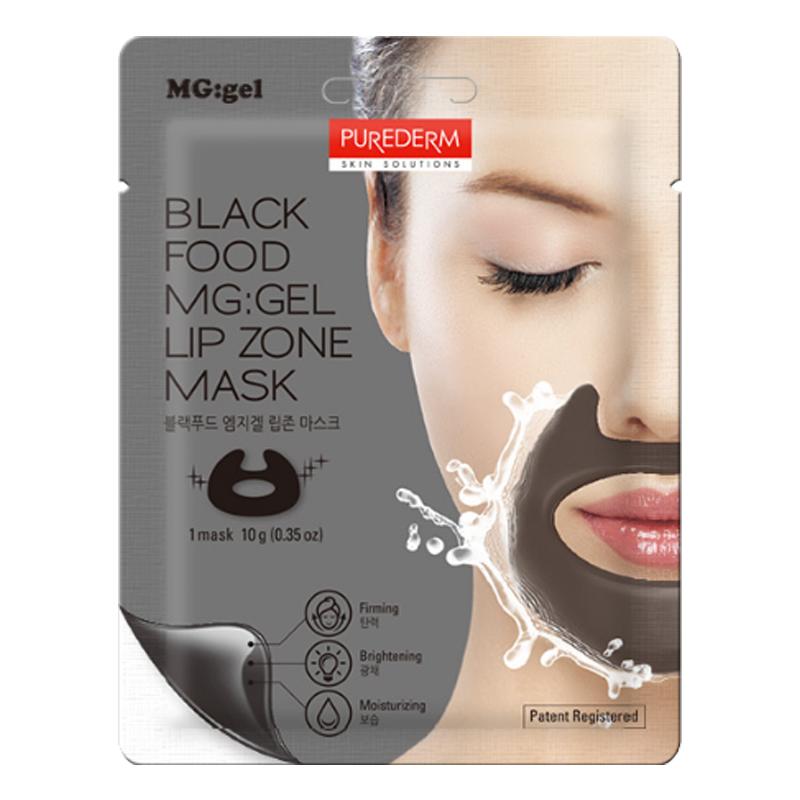 [PUREDERM] Black Food MG:gel Lip Zone Mask 10g   (Weight : 17g)
