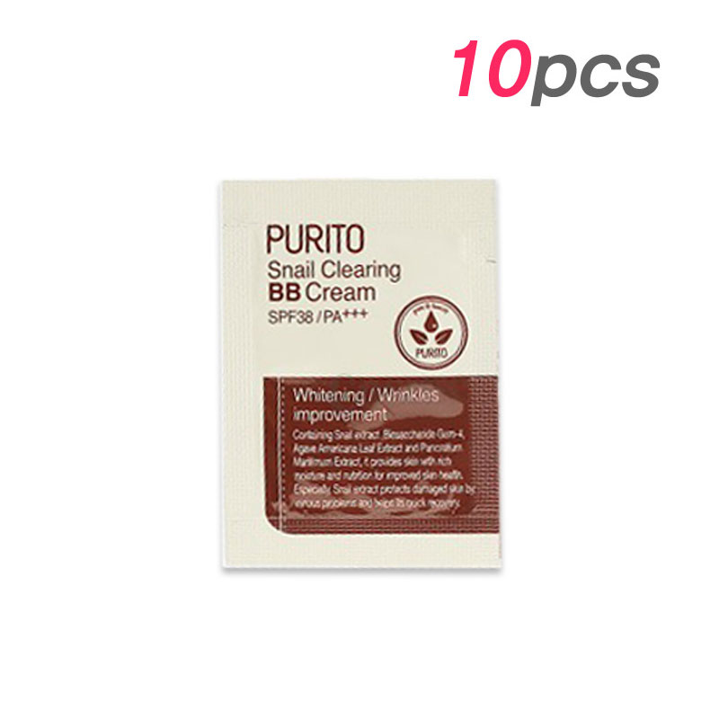 [PURITO] Snail Clearing BB Cream 3 Color 1g * 10pcs [Sample] (Weight : 20g)
