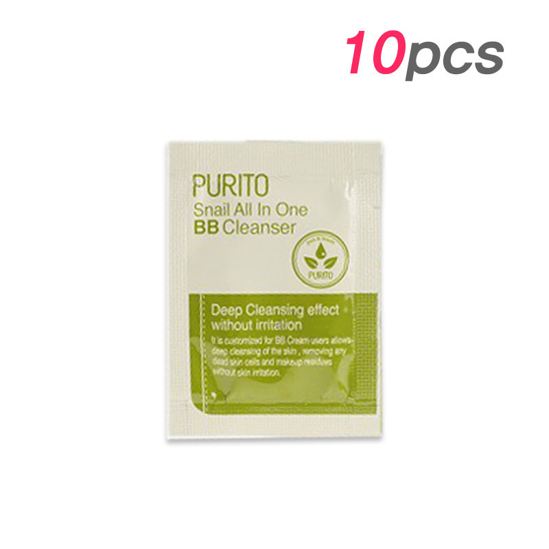 [PURITO] Snail All In One BB Cleanser 1.5g * 10pcs [Sample] (Weight : 22g)