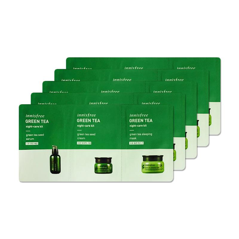 [INNISFREE] Green Tea Night-Care Kit 2ml+2ml+2ml * 5pcs [Sample] (Weight : 59g)