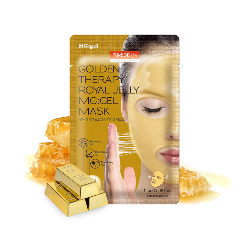 [PUREDERM] Golden Therapy Royal Jelly MG:Gel Mask 23g 1pcs (Weight : 39g)