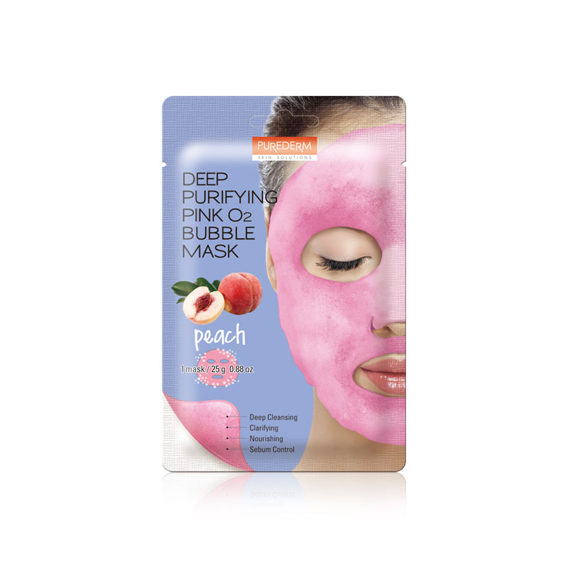 [PUREDERM] Deep Purifying Pink O2 Bubble Mask Peach 25g * 1pcs (Weight : 34g)