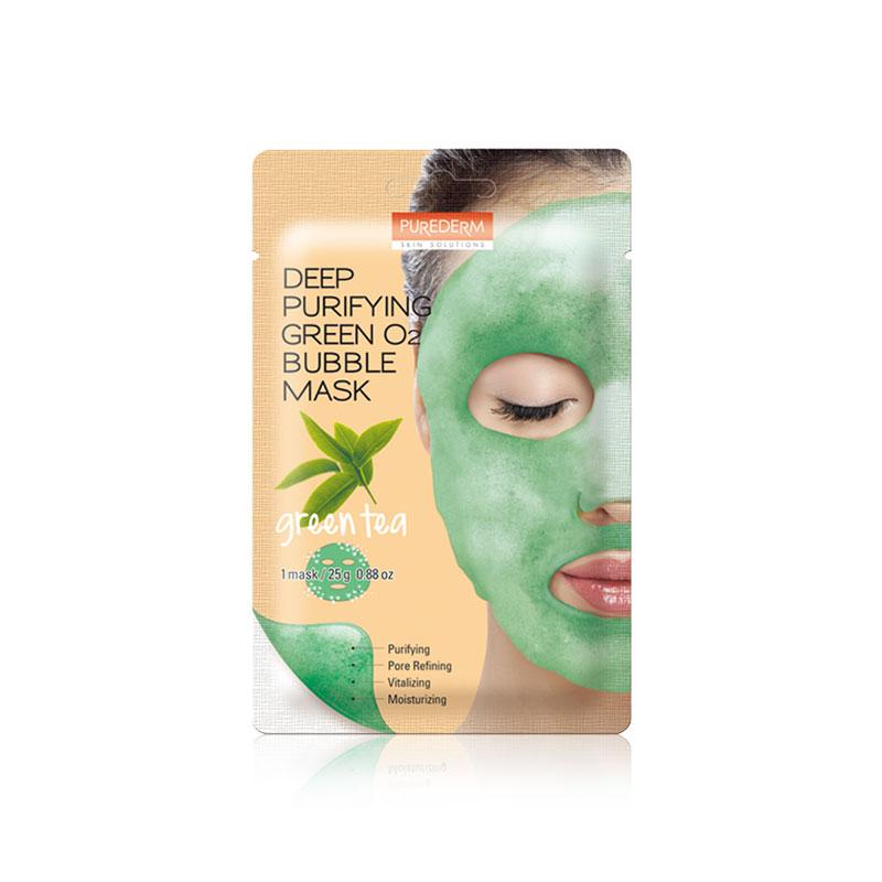 [PUREDERM] Deep Purifying Green O2 Bubble Mask Green Tea 25g * 1pcs (Weight : 34g)