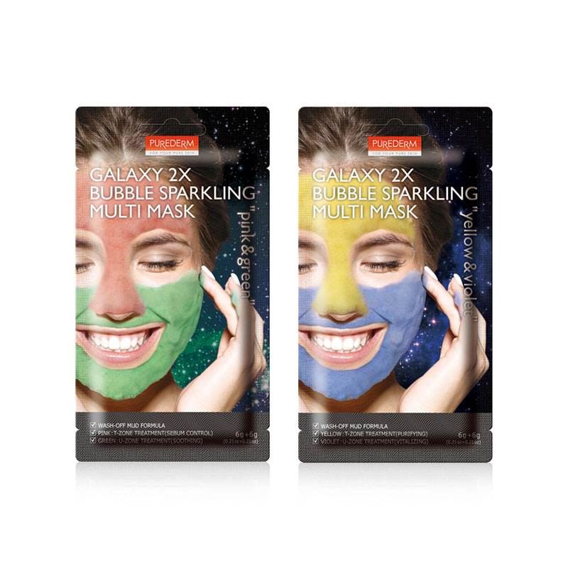 [PUREDERM] Galaxy 2X Bubble Sparkling Multi Mask 2 Type 6g+6g (Weight : 18g)