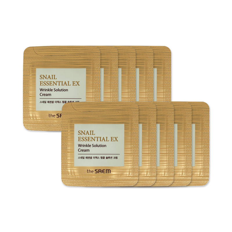 [THE SAEM] Snail Essential EX Wrinkle Solution Cream 1.5ml * 10pcs [Sample] (Weight : 25g)