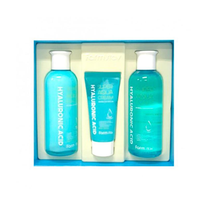 [FARM STAY] Hyaluronic Acid Super Aqua Skin Care 3 Set (Weight : 785g)