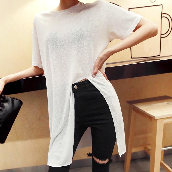 ディープスリット半袖Tシャツ