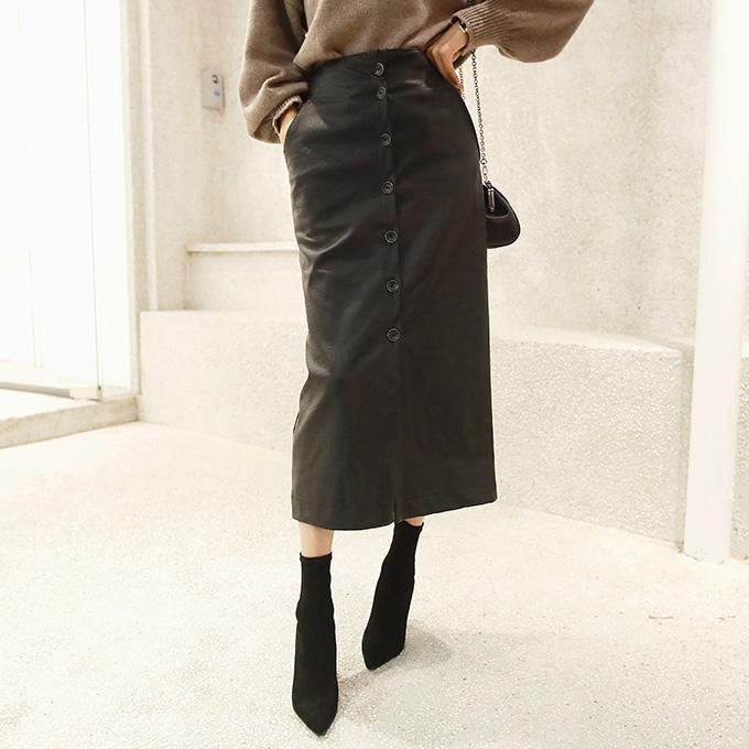 レザー調フロントボタンスカート