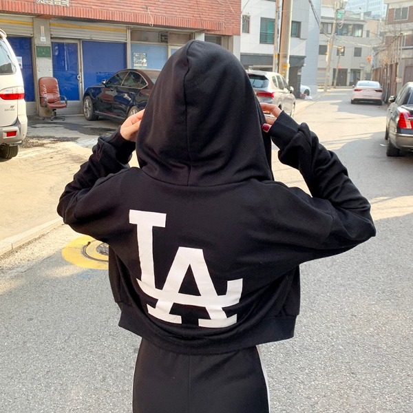 Cropped LA Hooded Zip-up