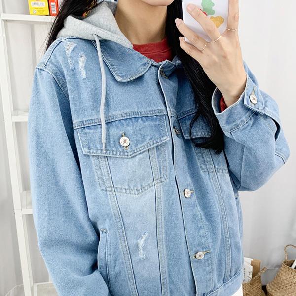 Loco-Ring Blue Denim Hooded Jacket(detachable hood)