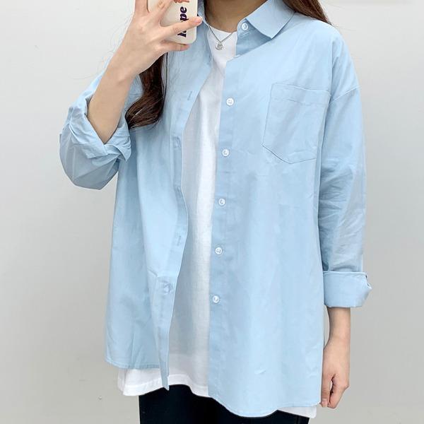 Overfit pocket plain Shirts