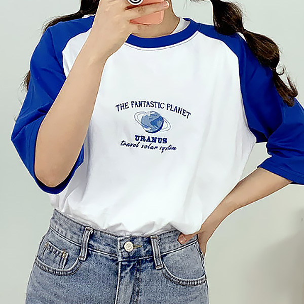 Planet short raglan sleeve T