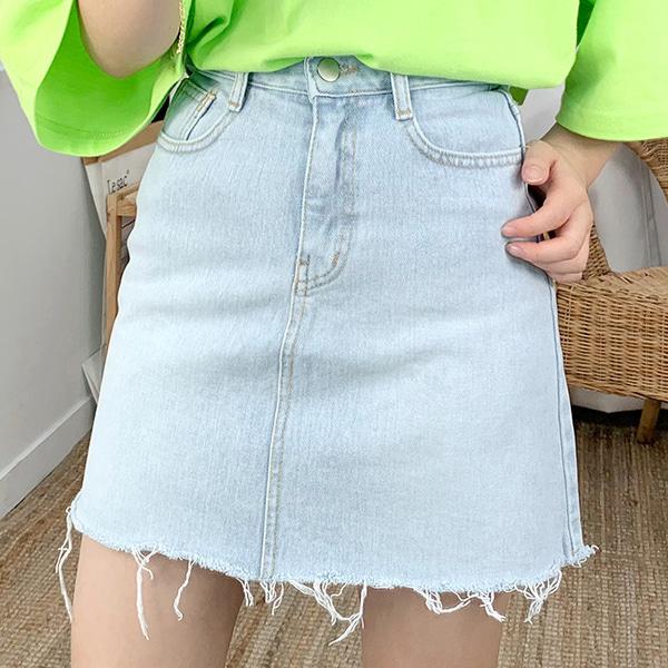 Cutting A Line Denim Skirt