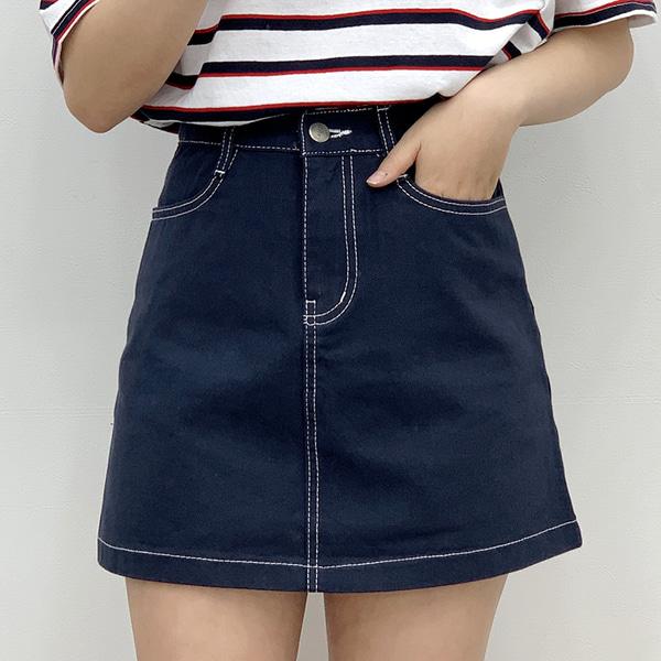 Stitched mini cotton skirt