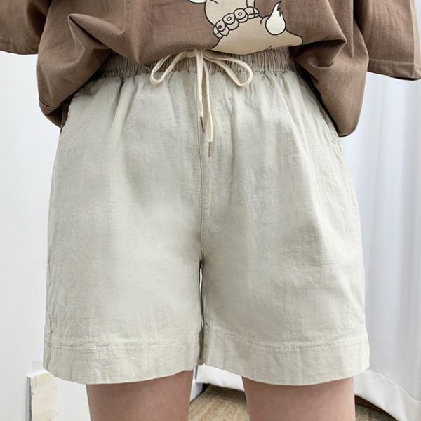 Side slit short linen trousers (6color)