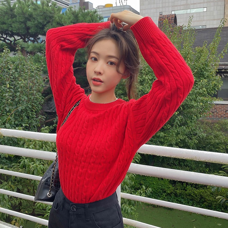 Another Puff Cable Knit Sweater_H66133