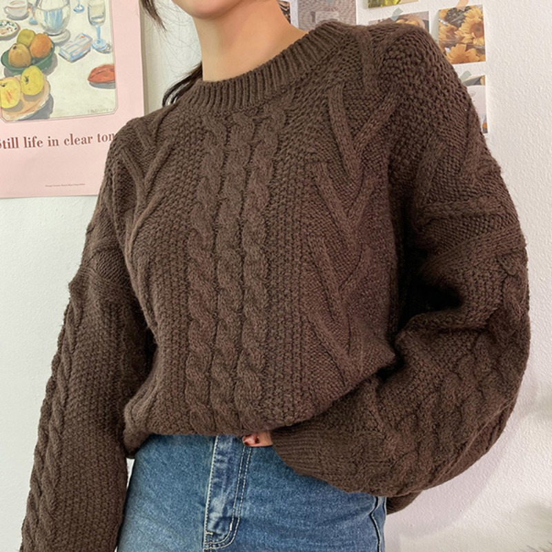 Winter Pretzel Twist Knit Sweater_CJKL20D007