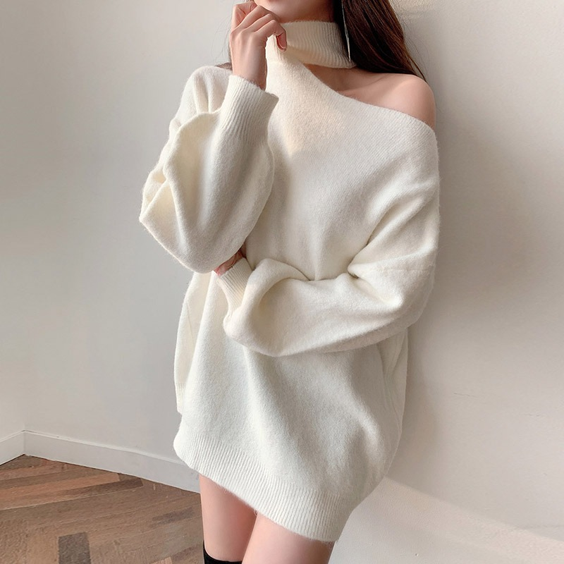 One-Shoulder Long Knit Sweater_CHKL20NS12