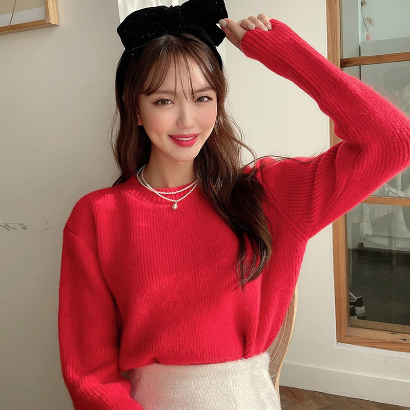 Basic Round Neck Knit Sweater_CHKL20NS09