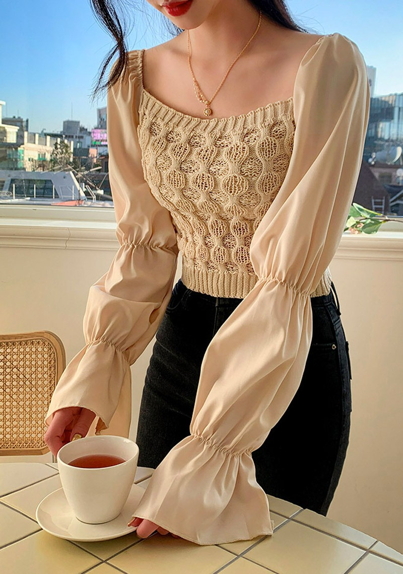 Another Sunlight Knit Puff Blouse