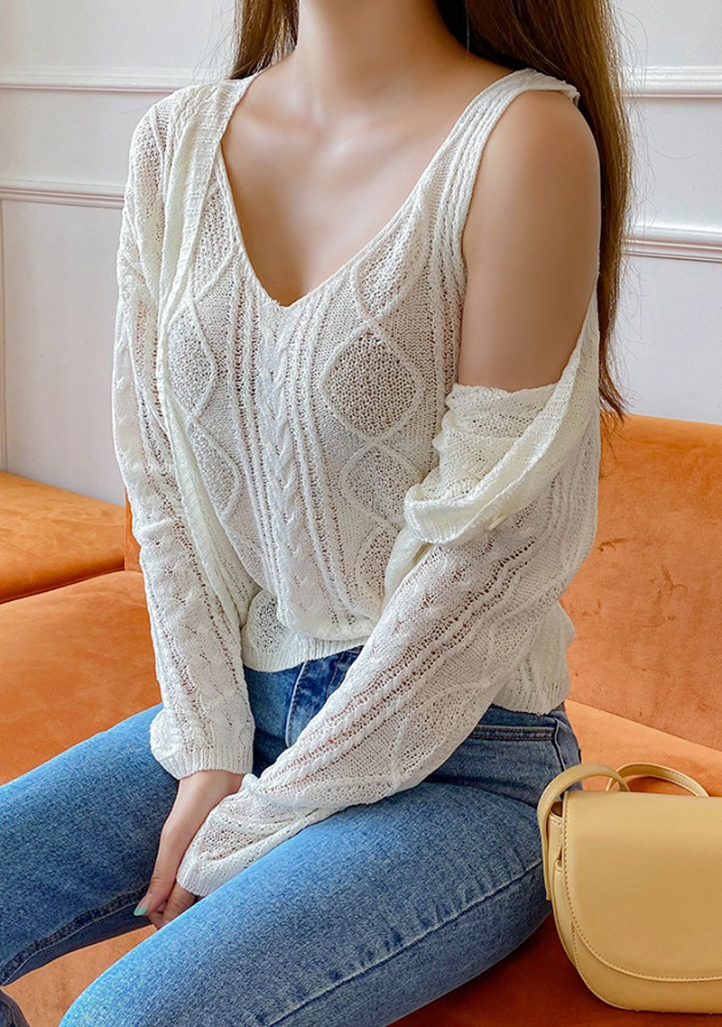 Sweet Knit Cardigan + Sleeveless Top Set_H65784