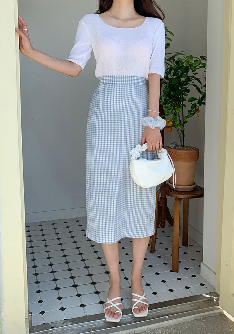 The Trick Is Gingham Check Skirt_H65149