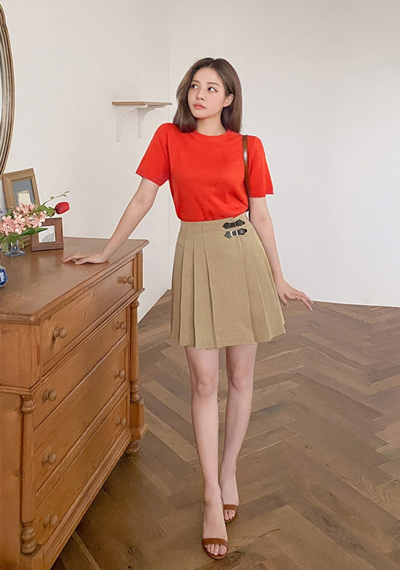 Getting Attached Side Belt Pleated Skirt_H65855