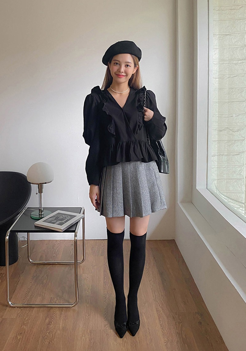 Fall In Time Pleated Mini Skirt_H65996