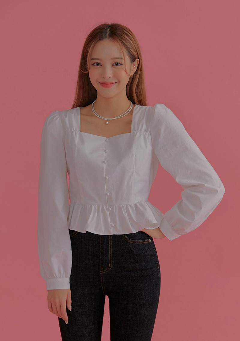 I Look Cute Everyday Puff Blouse_H65957