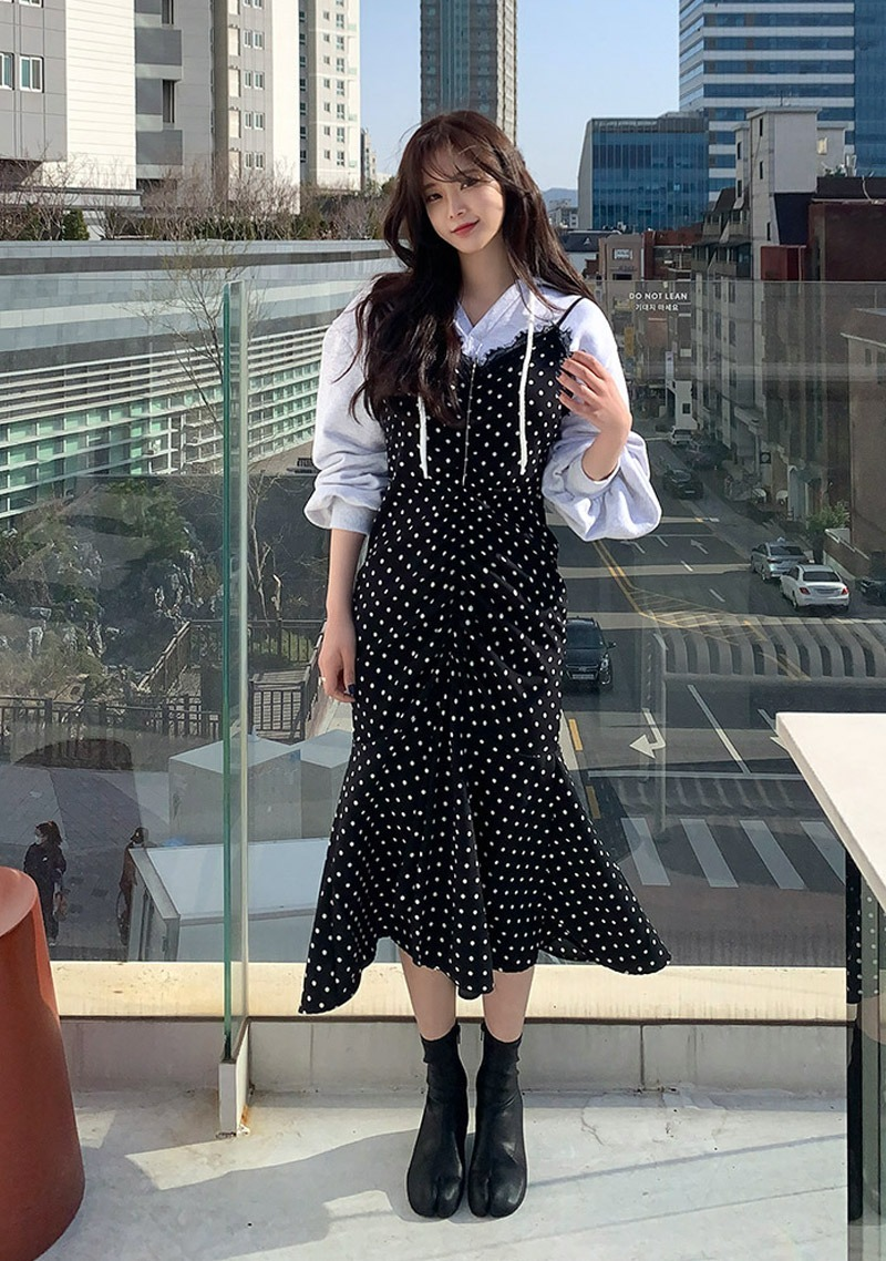 Bridge Conversation Shirring Dots Dress