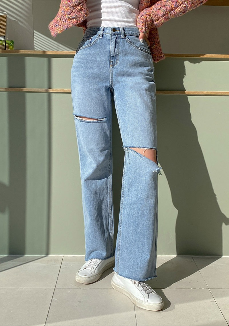 What I Want To Do Ribbed Denim Jeans_H66531