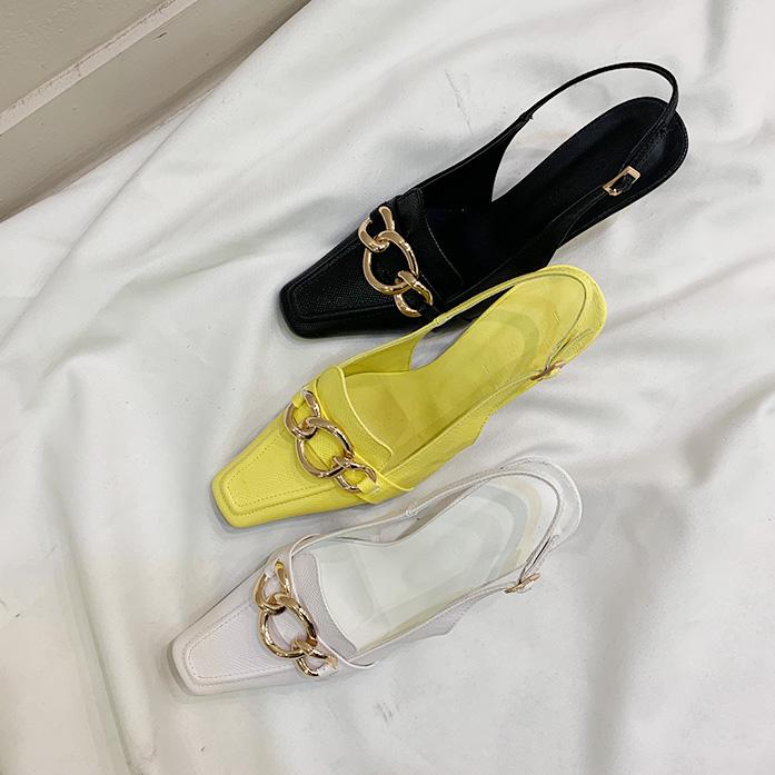 DABAGIRL夸张链条鞋面肌理感露跟鞋