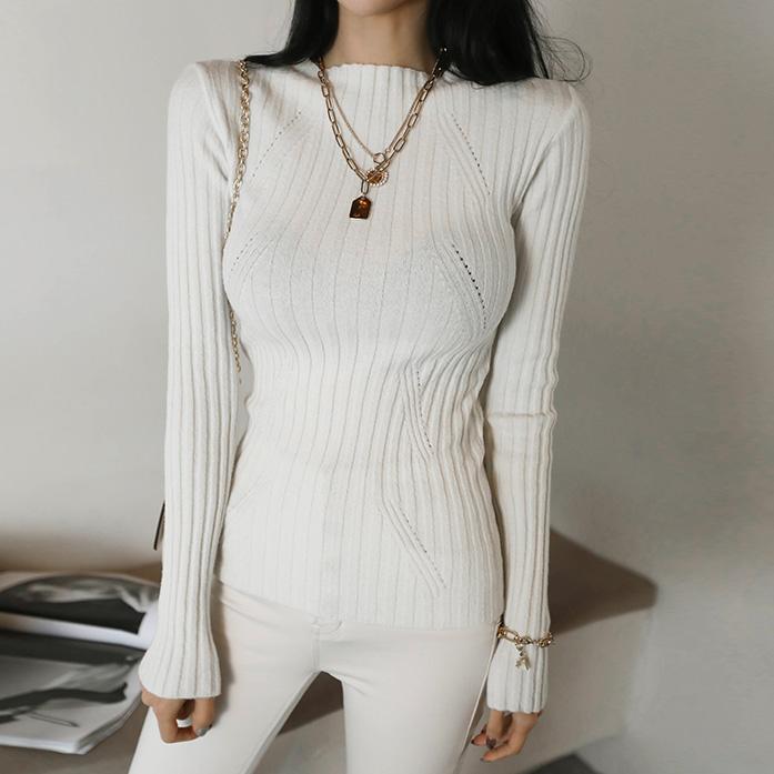 DABAGIRL罗纹羊毛混纺弹力针织衫